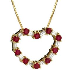 14k Yellow Gold 0.99CTW Ruby and Diamond Pendant, (VS2-SI1/G-H)