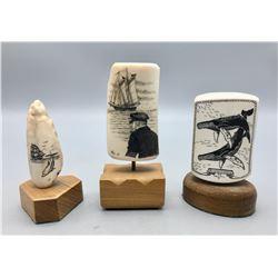 Three Scrimshaw Fossilized Ivory Pieces
