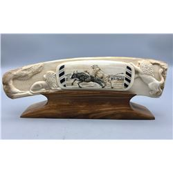 Scrimshaw and Carved Fossilized Ivory Artwork Statue