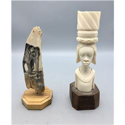 Two Fossilized Ivory Statues/Carvings