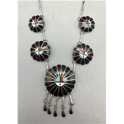 Zuni Inlay Necklace -Signed