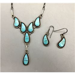 Zuni Turquoise Channel Inlay Necklace Set