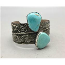 A Unique Vintage Two Stone Turquoise Bracelet