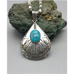 Double Sided Turquoise and Sterling Silver Necklace
