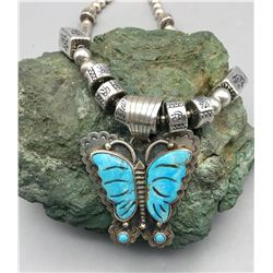 Turquoise Inlay Butterfly Necklace