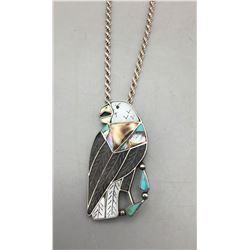 Zuni Inlay Eagle Pin-Pendant
