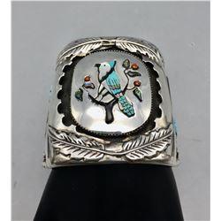 Large Zuni Inlay Bracelet by Quam