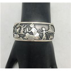 Hyson Craig Navajo Overlay Storyteller  Bracelet