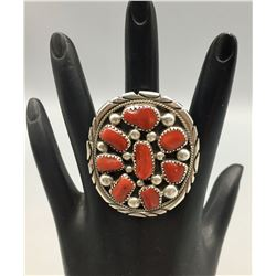 Vintage Sterling Silver and Coral Cluster Ring