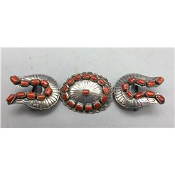 Vintage Sterling Silver and Coral Buckle Set
