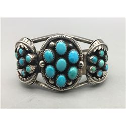 1970s Navajo Turquoise Cluster Bracelet