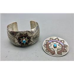 Navajo Wedding Basket Bracelet and Pin