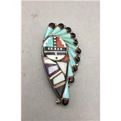 Zuni Inlay Pin Pendant- Stanford Gchachu