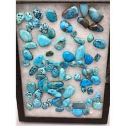 Display of Turquoise Cabochons
