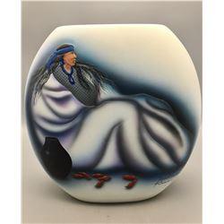 Robert Redbird Hand Painted Pot