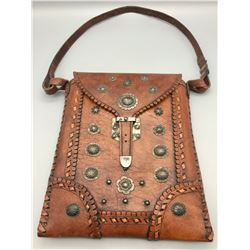 Handmade Leather Bag with Sterling Silver Conchos