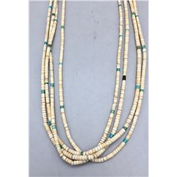Vintage Four Strand Heishi and Turquoise Necklace