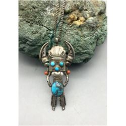 Unique Kachina Themed Necklace with Nice Turquoise