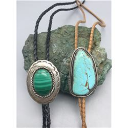 Two Vintage Bolos - One Turquoise and One Malachite