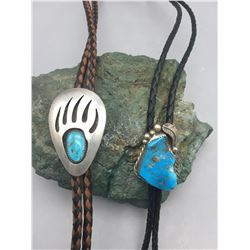 Two Vintage Bolos with Turquoise