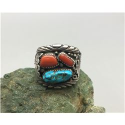 Large Turquoise and Coral Ring