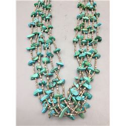Vintage Six Strand Turquoise and Heishi Necklace