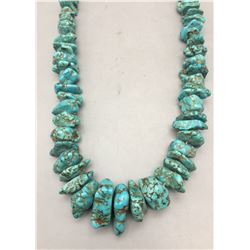 Chunky Turquoise Nugget and Sterling Silver Necklace