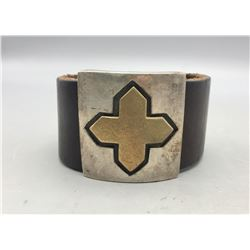 Unique Leather and Sterling Silver Bracelet