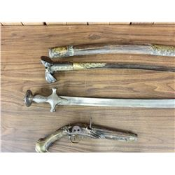 Two Middle Eastern Swords and Flintlock Pistol