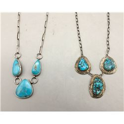 Two Turquoise and Sterling Silver Necklaces