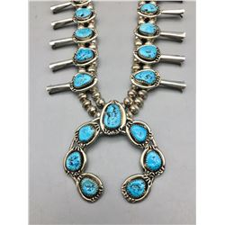 Turquoise and Sterling Silver Squash Blossom Necklace