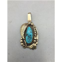 Gold Sterling Silver and Turquoise Pendant