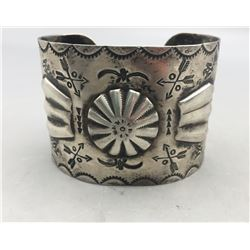 Vintage Stamped Bracelet with Repousse
