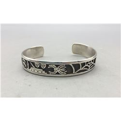 Sterling Silver Hopi Overlay Bracelet