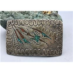 Sterling Silver and Chip Inlay Belt Buckle