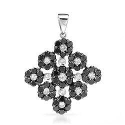 18k White Gold 2.77CTW Diamond and Black Diamonds Pendant, (SI1-SI2/G-H)