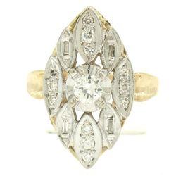 14k Two Tone Gold .55 ctw European Diamond Solitaire Ring