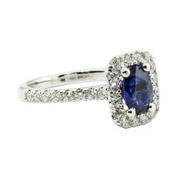 1.45 ctw Oval Brilliant Blue Sapphire And Diamond Ring - 14KT White Gold