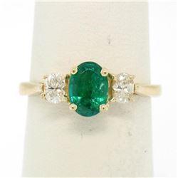 14k Solid Yellow Gold 1.03 ctw Three Stone Prong Set Oval Emerald & Diamonds Rin