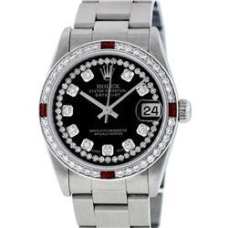 Rolex Womens Midsize 31mm Black String Diamond & Ruby Datejust Wristwatch