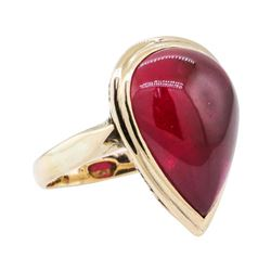 4.00 ctw Synthetic Ruby Ring - 10KT Yellow Gold
