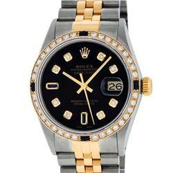 Rolex Mens 2 Tone 14K Black Diamond & Sapphire 36MM Datejust Wristwatch