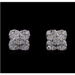 1.68 ctw Diamond Earrings - 14KT White Gold