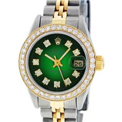 Rolex Ladies 2 Tone Yellow Gold Green Vignette VS Diamond Datejust Wristwatch