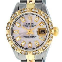 Rolex Ladies 2 Tone Yellow Gold Pink Mother Of Pearl Pyramid Diamond Datejust