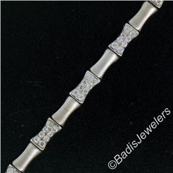 14kt White Gold 1.20 ctw Round Diamond Cluster and Brushed Link Tennis Bracelet
