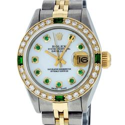 Rolex Ladies 2 Tone Yellow Gold Mother Of Pearl & Emerald Datejust Wristwatch