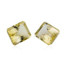23.34 ctw.Natural Emerald Cut Citrine Quartz Parcel of Two