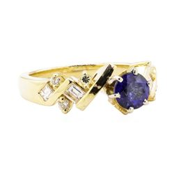 1.64 ctw Blue Sapphire And Diamond Ring - 14KT Yellow Gold