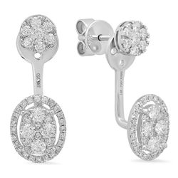 14k Gold 0.99CTW Diamond Earrings, (SI1-SI2)